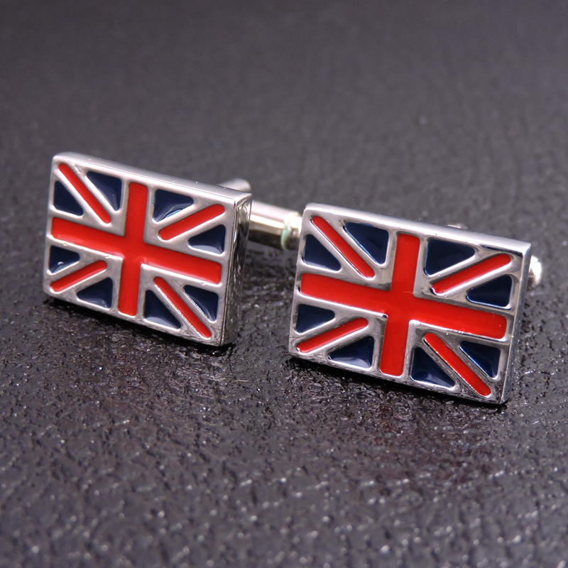 High Quality Men's Shirts Cufflinks New Fashion Jewelry Brand British Flag Cufflinks, 1 Double Free Delivery
