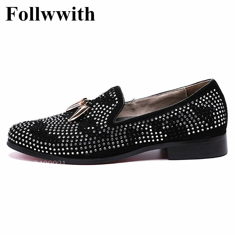 2018 Follwwith Brand Crystal Rivets Metal Chili Decor Suede Top Quality Men Loafers Slip On Wedding Flats Casual Shoes top brand high quality genuine leather casual men shoes cow suede comfortable loafers soft breathable shoes men flats warm