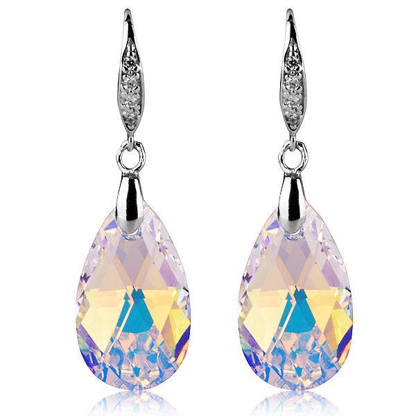 Lágrimas de anjo brincos de cristal Austríaco genuína de Prata Banhado brincos da orelha gancho brincos presentes de aniversário para as mulheres
