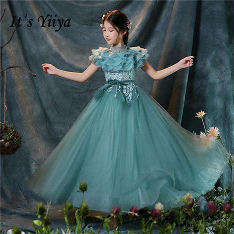 It's yiiya New Ruffles High Collar Sequins High quality A-line   Flower     Girl     Dresses   Beading Short Sleeves   Girls     Dress   MT003