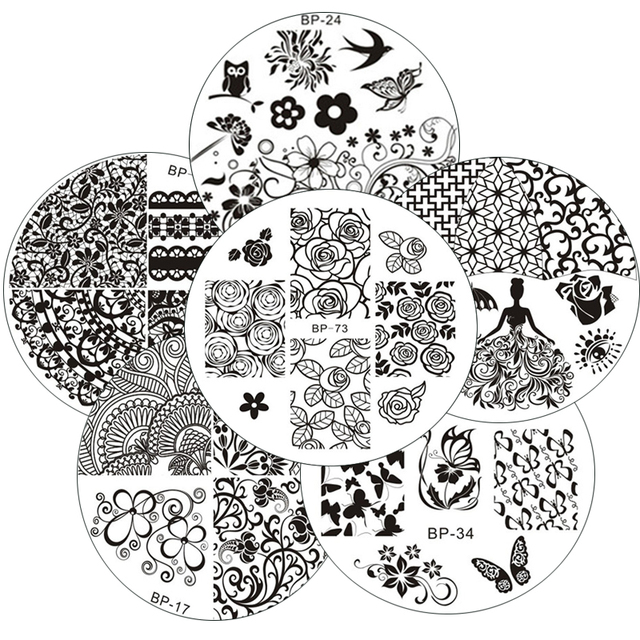 BORN PRETTY Lace Rose Flower Queen Pattern Nail Art Stamping Template Image Stamp Plate Nail Art Decorations
