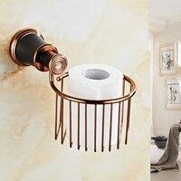 VidricPaper Holders Retro Wall Mounted Black Toilet Roll Holder For Bathroom Accessories Brass Finish Acessorios Para Banheiro 5