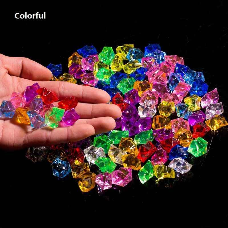 100pcs Artificial Color Rock Acrylic Crystal Stone Plastic Transparent Vase Decorative Stone Fish Tank Home Wedding Decorations