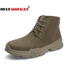 Onlymonkey Pria Hiking Sepatu Tinggi-Top Karet Sole Non-Slip Sepatu  Olahraga Outdoor Kulit Berkualitas Tinggi Tahan Air Hiking s. 93b1e58f90