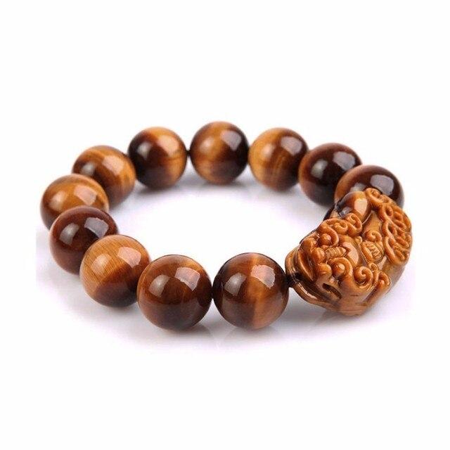 Kyszdl Natural 12mm Round Bead Tiger Eye Stone Pixiu Bracelet Men And Women Fashion