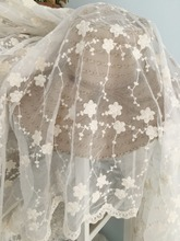 One yard Beige Lace Fabric, Cotton Embroidered Florals Ivory Wedding Dress Fabric By The Yard