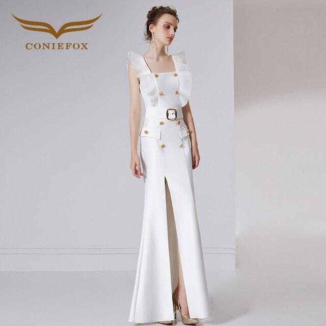 0b409a402f21 Coniefox 32030 white noble backless elegancki bankiet sukni wieczór sukni  Przyjęcia Balu suknie wieczorowe suknie długie