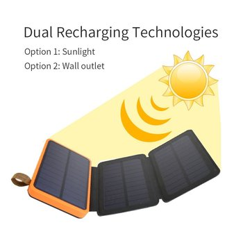 Phone Charger 10000mAh Solar Phone Charger Power Bank Dual USB for iPhone 4s 5 5s SE 6 6s 7 7plus iPad Samsung s7 s8 HTC LG Sony 4