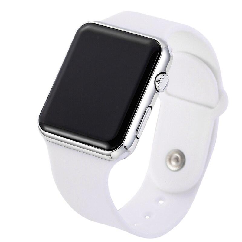 Цифровые спортивные светодиодные часы, розовые мужские и женские модные квадратные наручные часы, подарок для пары, силиконовые Роскошные ...