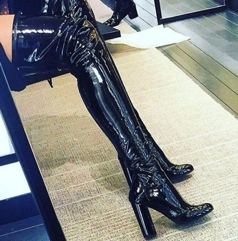 2018 New Fashion Over The Knee Patent Leather Woman Boots Round Toe Thick High Heels Thigh Woman Boots Nightclub Dress Shoes