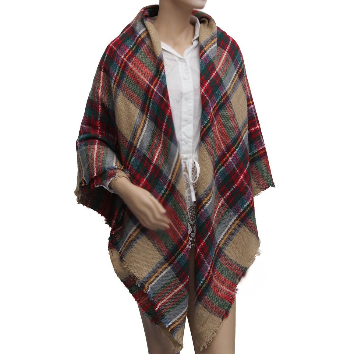DSGS Women wide Pashmina font b Tartan b font wrapped scarf shawl stole red Plaid collar