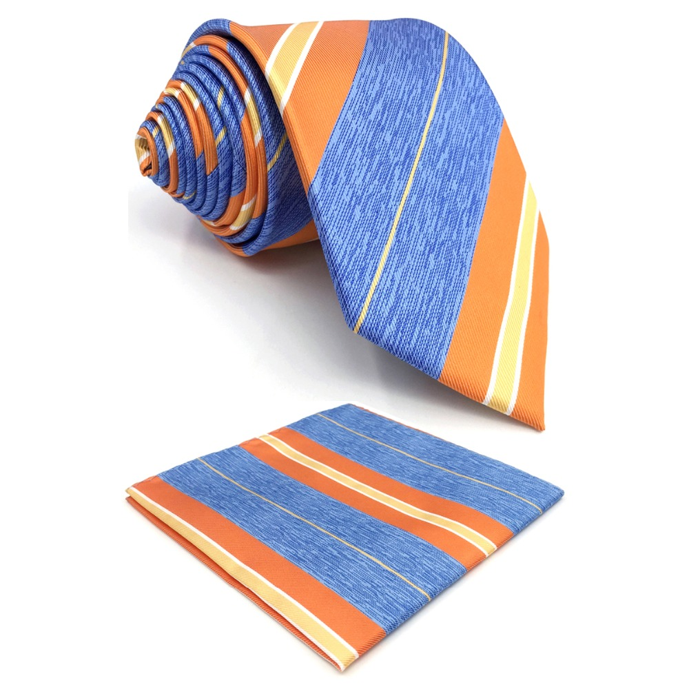 E37 Orange Azure Striped Silk Mens Necktie Set Dress Classic Ties For Male Fashion Groom 63