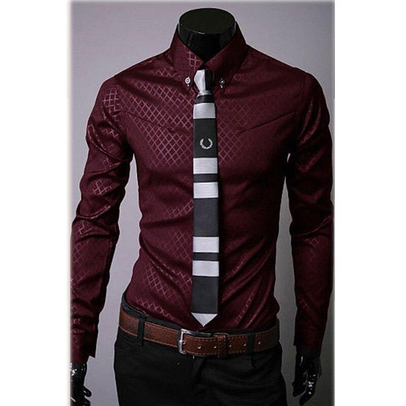 Fashion Men's Luxury Casual Shirts Slim Fit Dress Shirts Long Sleeve Button Tops-Y107