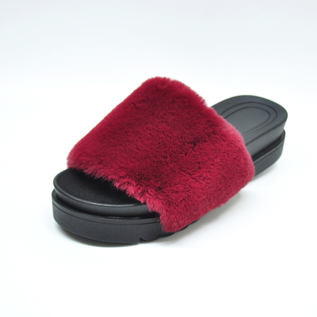44647f06232 SUOJIALUN Fluffy Fur Slippers Women Open Toe Shoes Slip On Flat with Casual  Warm Platform Shoes Woman Soft Indoor House Slipper