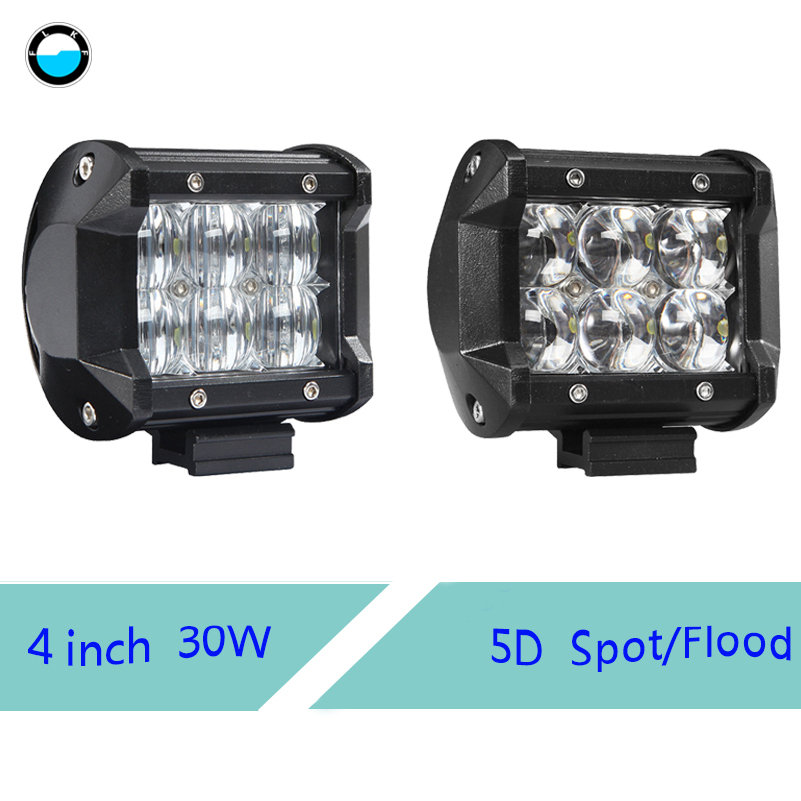 1 pcs 4 Inch 30W 5D Waterproof LED Work Light Bar Driving Lamp for SUV ATV 4x4 4WD Trailer Truck Boat image