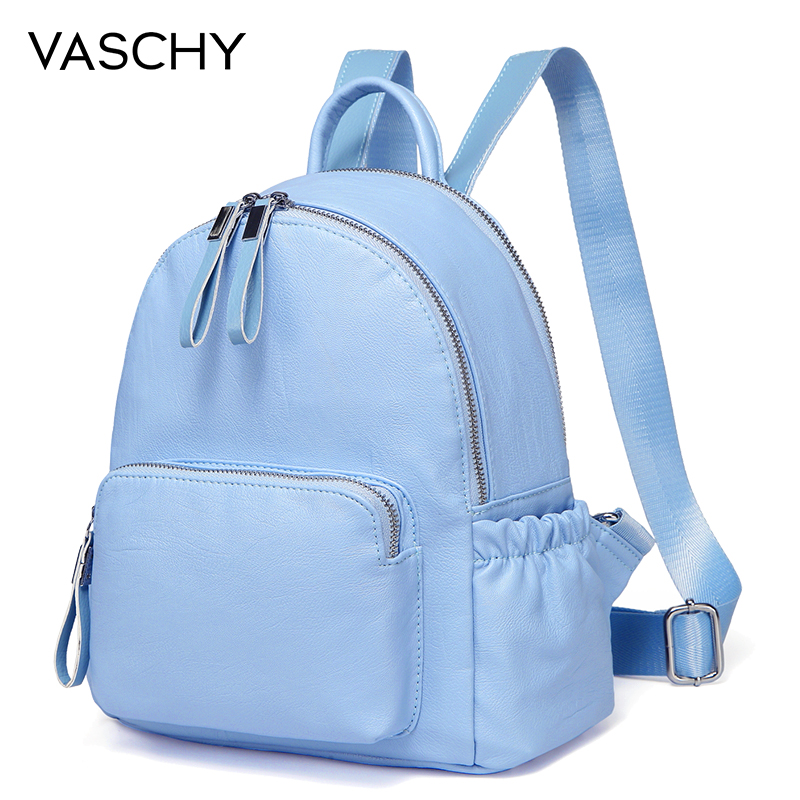 f0be0565100 US $26.99 39% OFF VASCHY Baby Blue Mini Backpack Purse,Vaschy Faux Leather  Small Backpack for Women cute backpack bag pack PU leather-in Backpacks ...