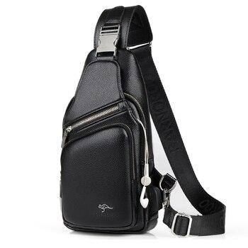 цена на Men's Chest Bag Leather Messenger Bag Multi-Functional Crossbody Bags Male Korea Messenger Shoulder Bag USB Charging Chest Pack