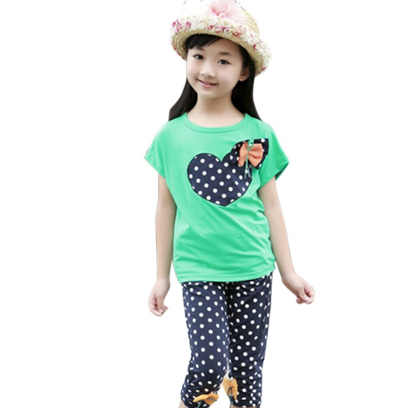Girls Kids Toddler Shirt T-shirt + Child Trousers Polka Dot Pants Suit Cloth Two-piece