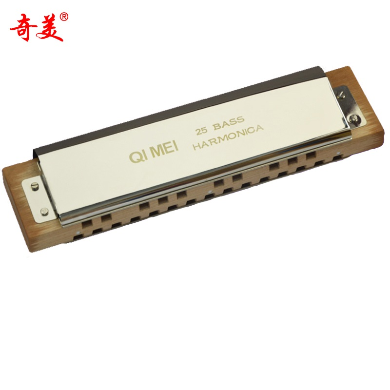 25 Hole Bass Harmonica Brass Mouth Organ Instrument Blues Harp Instrumento Chromatic Harmonica Key C Qimei QM25 Music Instrumet easttop brass chromatic harmonica 16 hole brass abs comb musical instruments mouth organ chromatic slide harmonica good sound