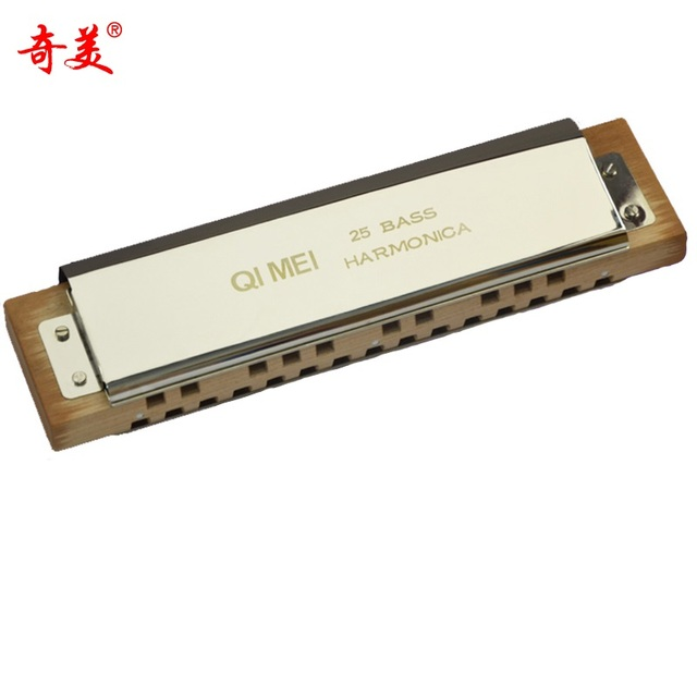 25 Hole Bass Harmonica Brass Mouth Organ Instrument Blues Harp Instrumento Chromatic Harmonica Key C Qimei QM25 Music Instrumet