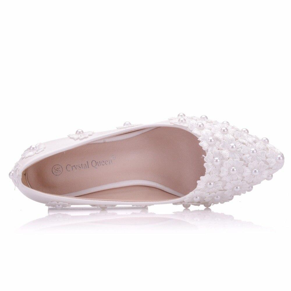 Appartements Pointu De Mariée Blanche La White Femmes Ballerines Dames Chaussures Reine Cristal Taille Mariage Plat Bout Talons Partie Dentelle Plus zwqZICWB