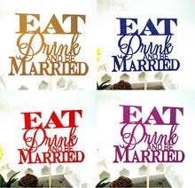 1pc Creative Wedding Cake Flag Topper Multi Colors Eat Drink Married Flags For Birthday Party Baking Decor Supplies