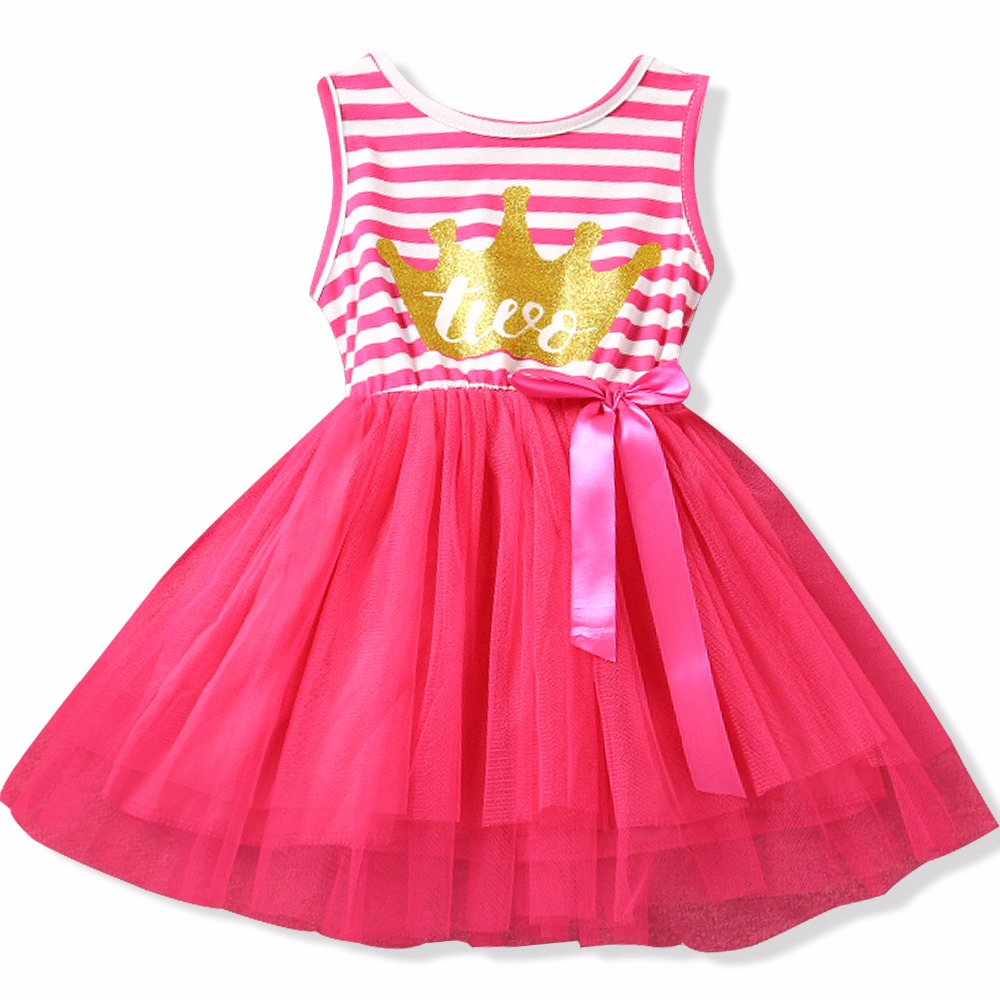 Подробнее о Baby Girl Clothes 2017 Girls Dresses Kids Princess Crown Print Dress For First Birthday Party Tutu Dress Children Kids Clothing children costumes for girls sweet princess dress baby girl school dresses for birthday party long sleeved bow girl kids clothes