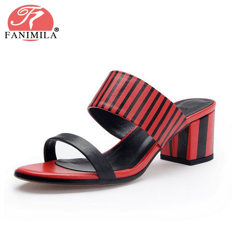 FANIMILA Women High Heel Sandals Open Toe Slip On Mixed Color Real Leather Women Summer Shoes Gingham Footwear Size 34-39 сандалии chicco chicco ch001abamnx2