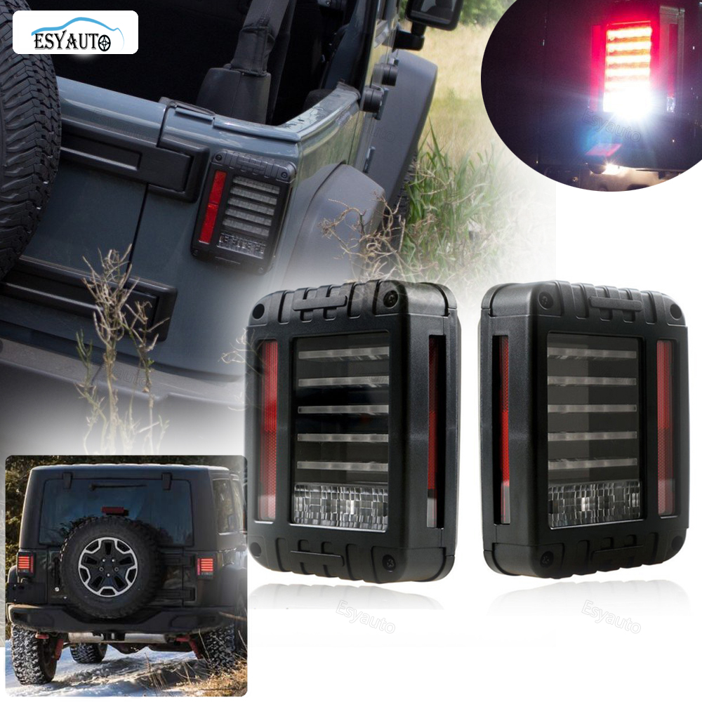 LED Tail Lights Brake Reverse Turn Singnal Lamp Back Up Rear Parking Stop Light DRL for Jeep Wrangler SUV car accessories 2 Pcs