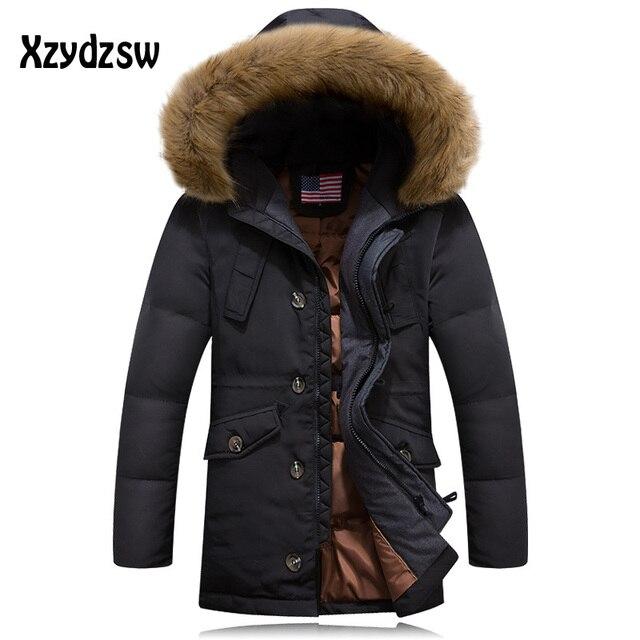 Канада Гуд зимняя куртка Для мужчин белая утка Подпушка куртка мужская куртка средней длины утолщение Мех животных капюшон Мужские парки верхняя одежда куртка пальто
