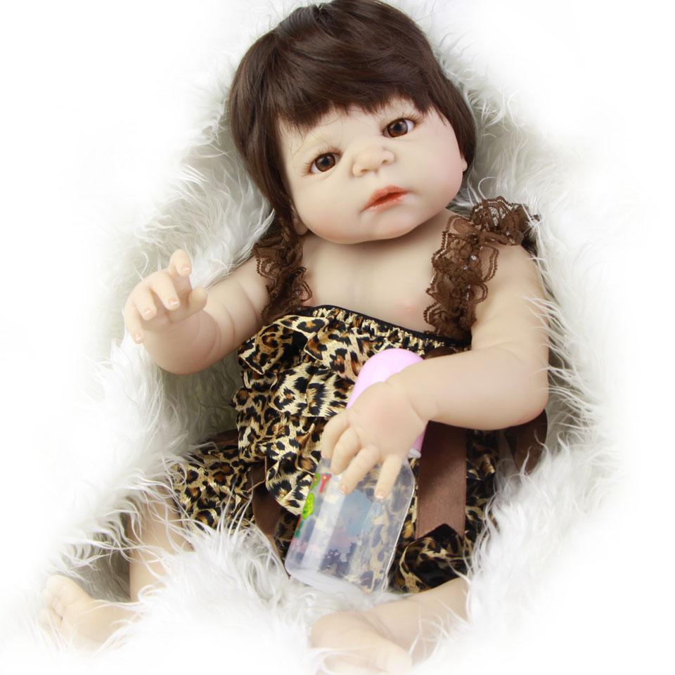 NPK New White Skin Silicone Girl Real Life Baby Dolls Full Body Vinyl 23 Inch Lifelike Reborn Baby Dolls For Sale Kids Playmate