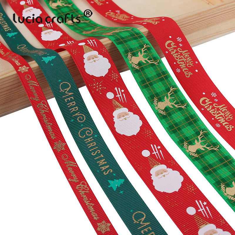 5yards/lot 10mm/15mm/25mm Polyester Printing Christmas Grosgrain Ribbons DIY Xmas Party Wrapping Decor Supplies Material X0203-3