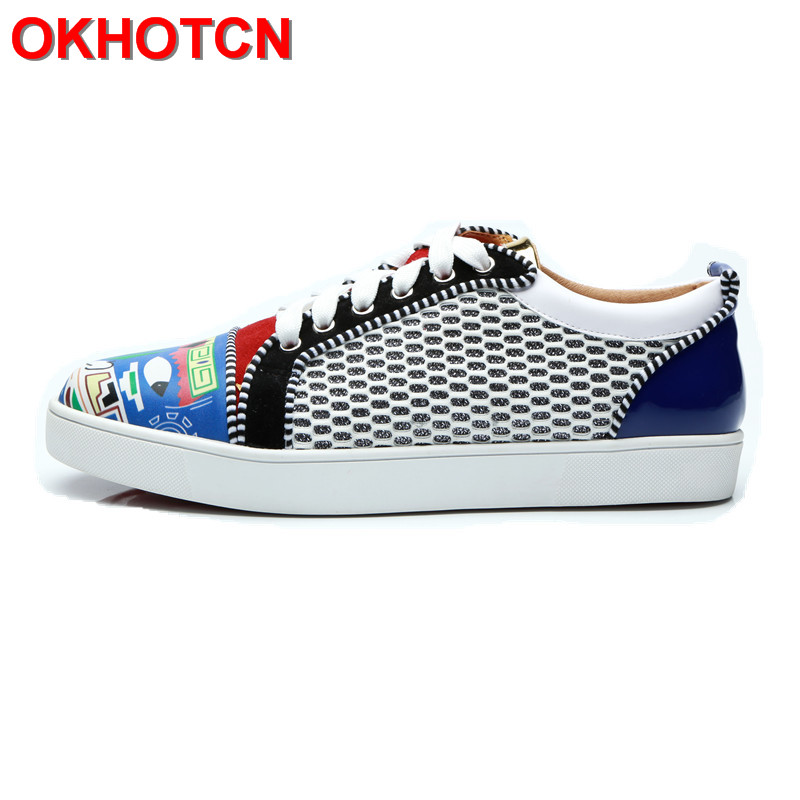Lace Up Men Designer Sneakers Print Mixed Color Mens Shoes Casual Luxury Shoes Snekers New Blue Spring Autumn Mens Driving Shoes