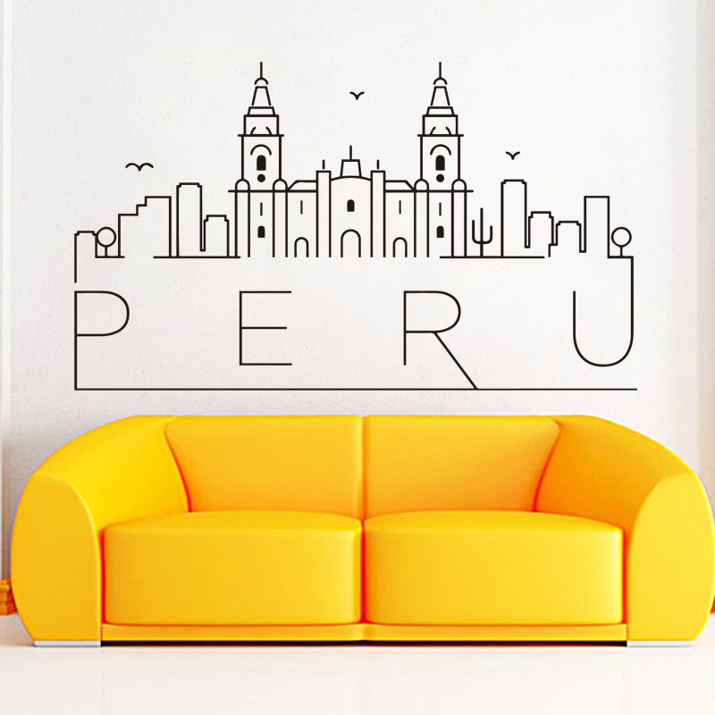 Peru wall sticker vinyl wall decor beautiful wall decoration waterproof living room bedroom for Beautiful wall stickers for living room