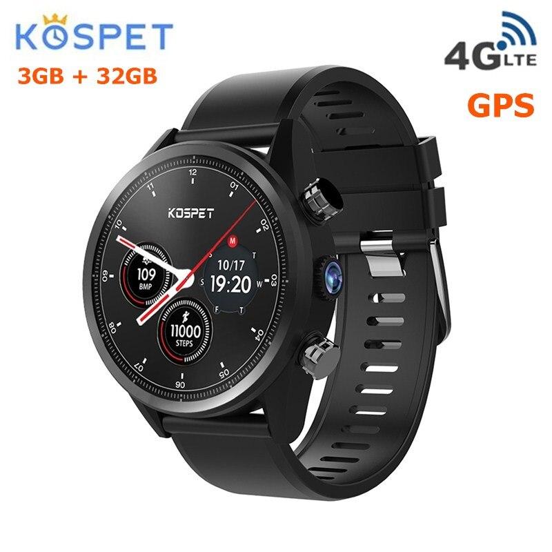 Kospet надежда 4G Smartwatch телефон 4 ядра 1,3 GHz 3 GB Оперативная память 32 ГБ Встроенная память 8.0MP Камера IP67 BT V4.0 Водонепроницаемый Смарт-часы Android 7,1