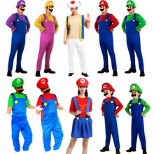 super mario and luigi bros brothers costumes for adults kids halloween women girl men child cosplay princess  baby party