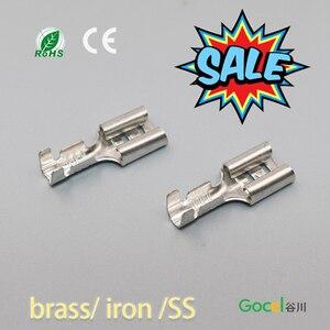 100 szt. 6.3mm żeński nagi przewód przyłączeniowy faston terminal DJ622-D6.3B