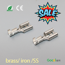100Pcs DJ622-D6.3B Brass Automobile Connector Dimension 6.3mm Female Naked Terminal Tinned Terminals