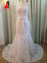 New White Plus Size Mermaid Wedding Dresses 2017 Lace Bridal Gown With Bow Belt Sexy Wedding Party Dress Vestido de noiva