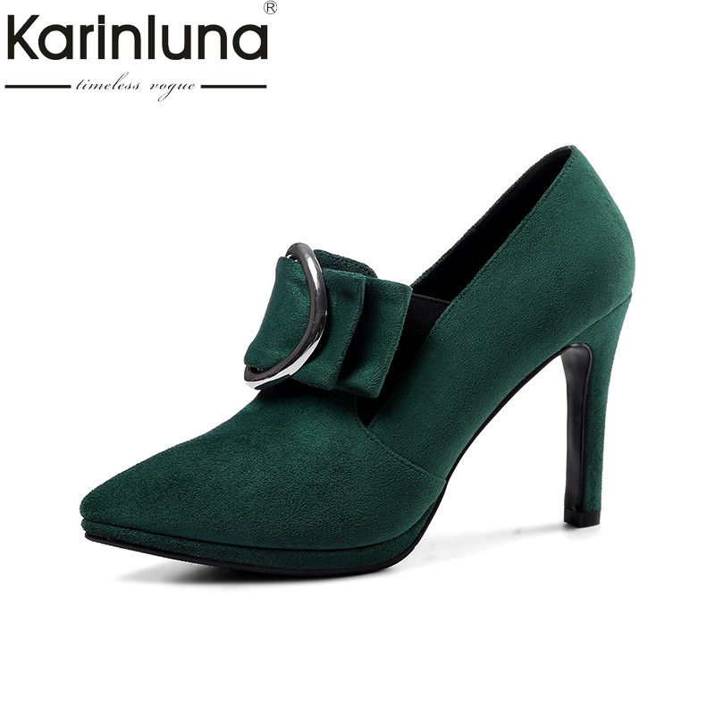 KarinLuna 2018 spring autumn brand big buckle women pumps low platform slip-on shoes woman high heels lady ol working shoes idg brand women slip on high heels short rough with the fall and winter metal buckle rivets shoes woman zapatos mujer tacon