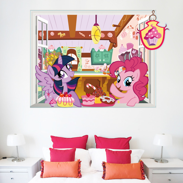 Twilight Sparkle Pinkie Pie 3d Window Wall Stickers For Girls Room Decoration Cartoon Home Decals My