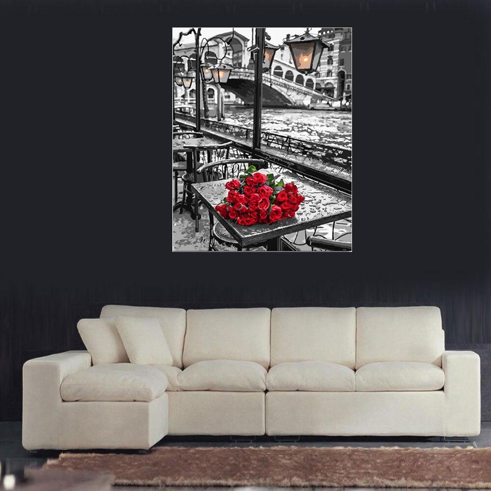 Картина маслом «сделай сам» красная роза Настенная картина с