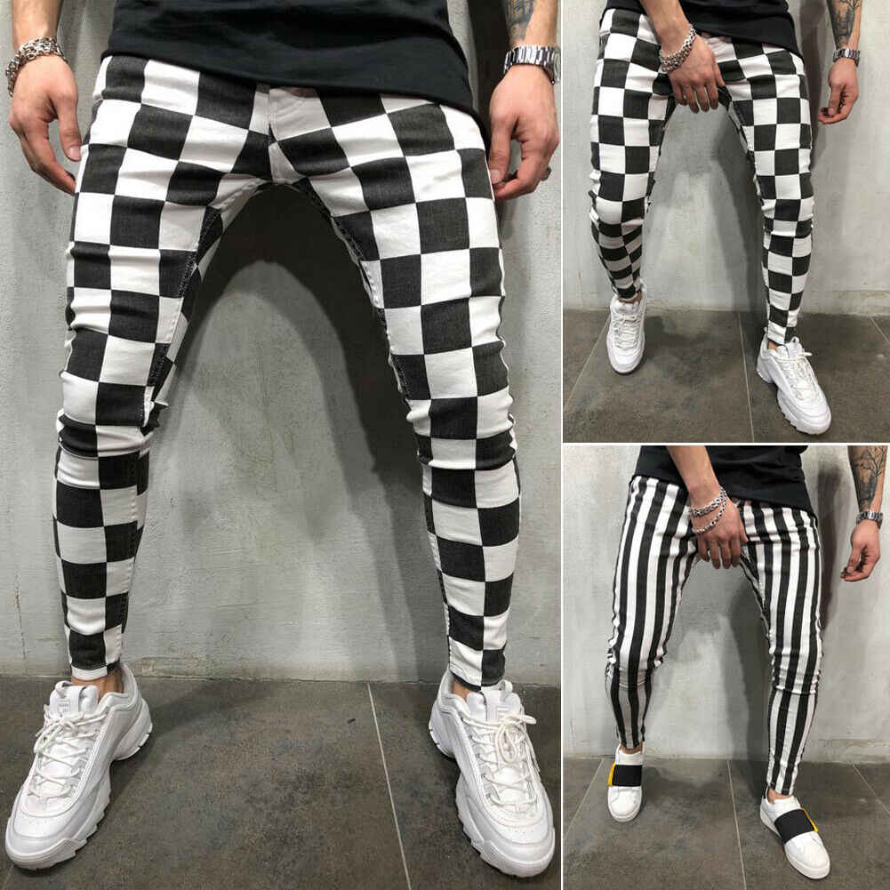 Cool heren Mode Slanke Jogger Skinny Potlood Broek Comfortabele Gestreepte Plaid Hip Hop Casual Broek S-XXL
