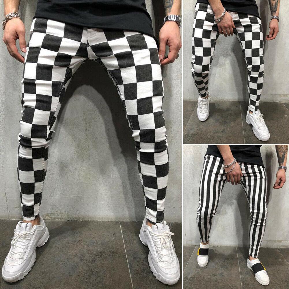 Cool Men's Fashion Slim Jogger Skinny Pencil Pants Comfortable Striped Plaid Hip Hop Casual Pants S-XXL