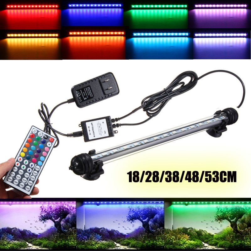 Smuxi Submersible RGB LED Fish Tank Air Curtain Light Tube 18/28/38/48/53CM Bar Light Aquarium LED Lamp with Remote AC110-240V new arrival led aquarium fish tank light bar 58cm 30 led smd 505 rgb led light submersible lamp ip68 waterproof with ir remote