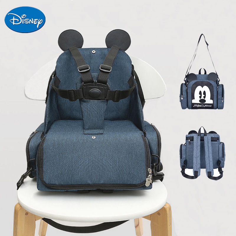 Disney Baby Dining Chair Seat Multifunctional Mommy Bag Feeding Highchair Portable Baby Eating Chair Safety Baby