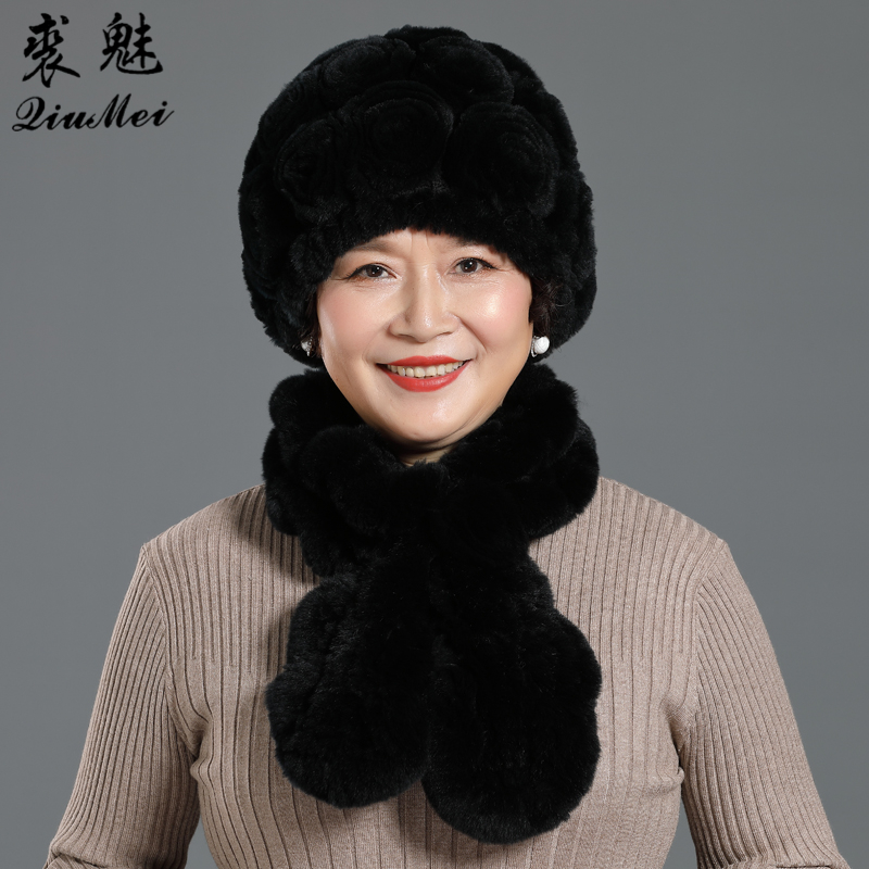 2 PCS/Set Real Rex Rabbit Fur Hat Scarf Sets For Middle-aged Women Warm Beanies Scarf Lady Rose Flower Hats Knitted Scarf