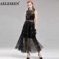 AELESEEN Vintage Runway Dress Women 2018 Fashion Flower Pirnt Black/White Sequin Dress Sleeveless Mesh Autumn Elegant Dress