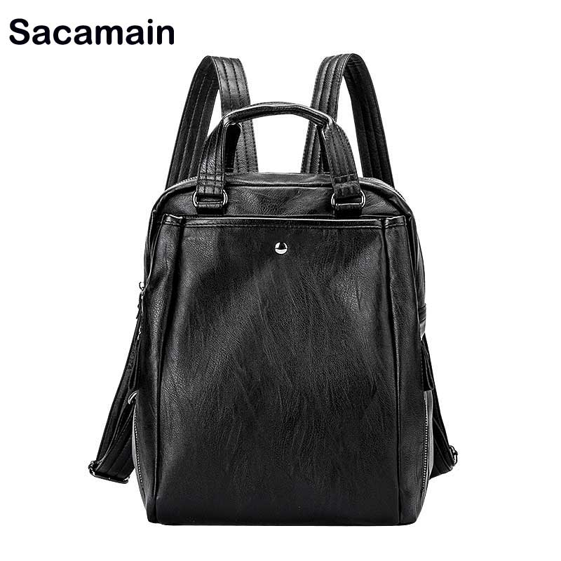 Sacamain Brand Leather Shoulder Bags Fashion Lady Travel Backpack Bag Casual Antitheft Travel Backpack Small Backpacks For Girls