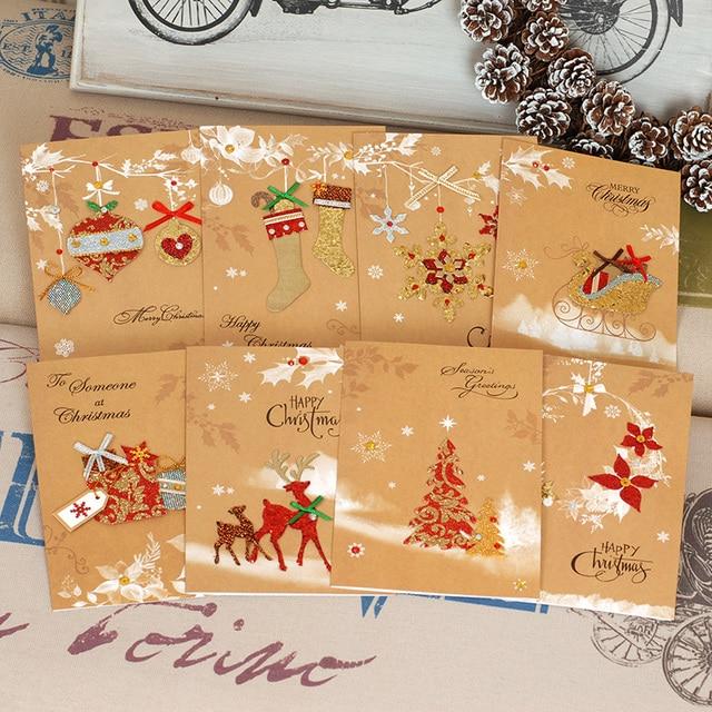 Weihnachtskarten Business.Us 14 99 Frohe Weihnachten Business Urlaub Karten Glitter Vintage Weihnachtskarten Mit Kraft Umschläge In Frohe Weihnachten Business Urlaub